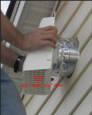 Right - A durable, vented cover is installed over this exhaust duct to prevent bird and pest entry