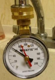 Service water pressure gauge